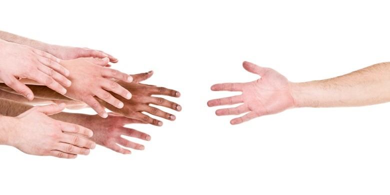 Hand reaching out for help