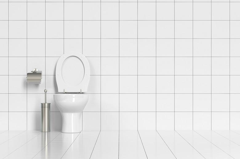 Geputzte Toilette im WC mit weißen Fliesen